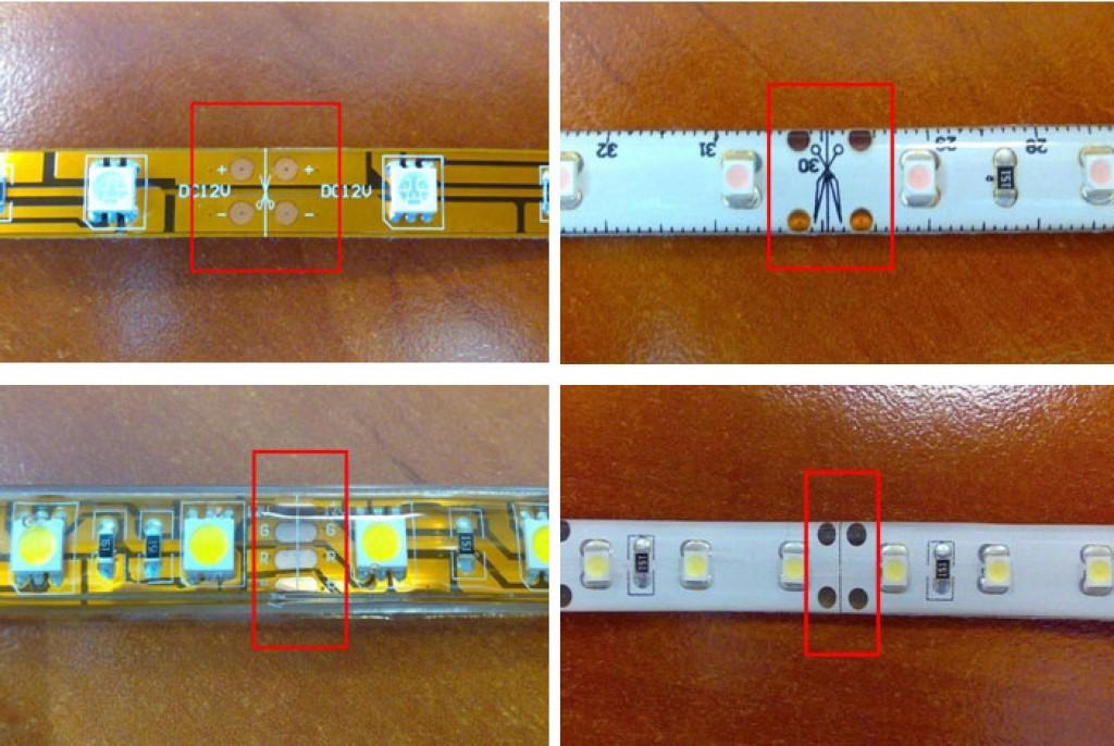 как разрезать светодиодную ленту