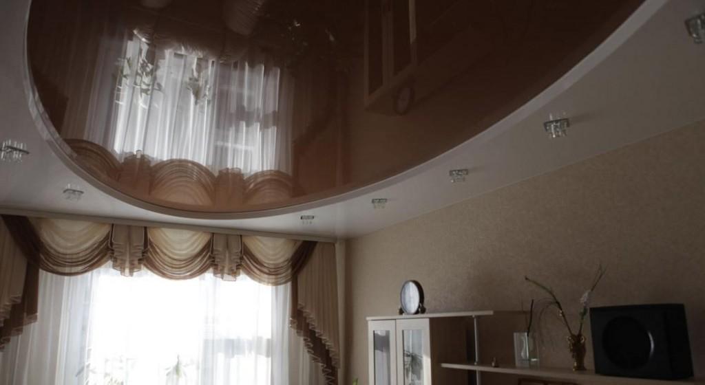 двухуровневый натяжной потолок овал