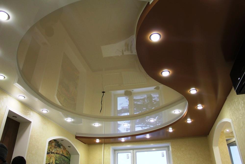 2 уровневые потолки натяжные потолки фото