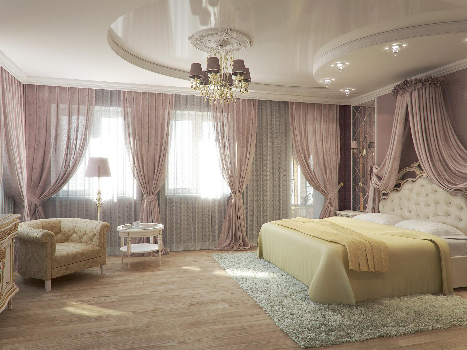 натяжные потолки спальня двухуровневые фото