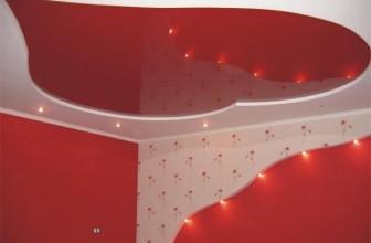 Красные двухуровневые натяжные потолки