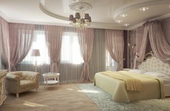 Спальня с двухуровневым потолком