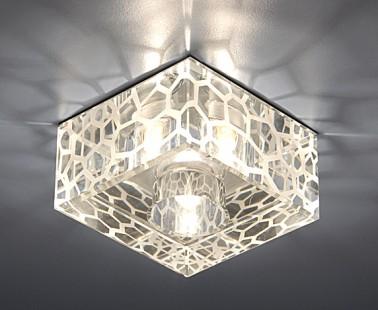Установка квадратных светильников в натяжной потолок